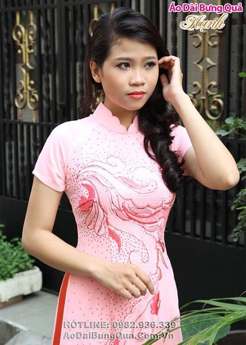 Áo dài cam lụa in hoa cổ hoa tay ngắn