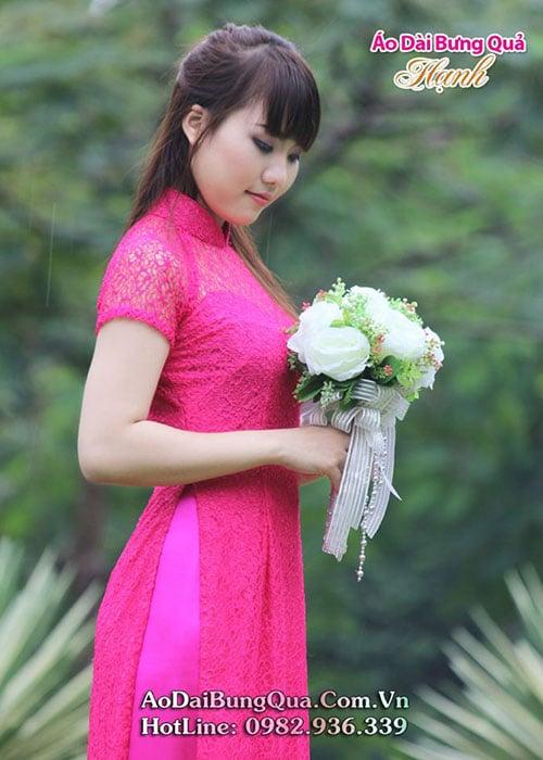 Áo dài hồng sen ren lưới cổ truyền thống tay ngắn cúp ngực