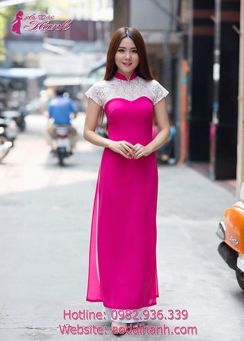 Áo dài hồng sen chiffon phối ren trắng cổ truyền thống tay ngắn cúp ngực