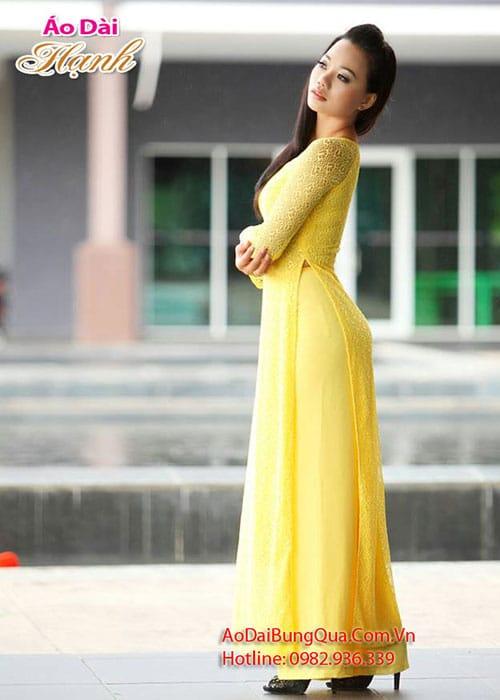 Áo dài vàng ren lưới cổ truyền thống tay dài cúp ngực
