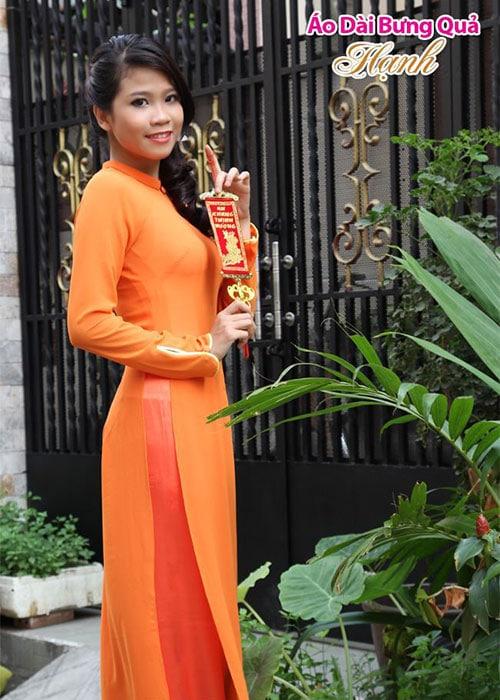 Áo dài cam chiffon cổ truyền thống tay dài