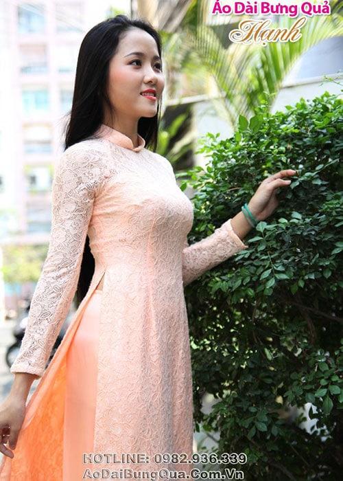 Áo dài cam sữa ren hoa hồng cổ truyền thống tay dài cúp ngực