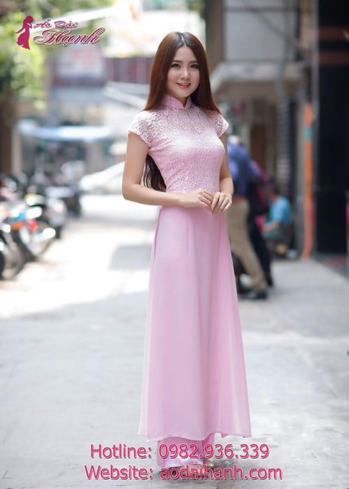 Áo dài hồng phấn chiffon phối ren tà A cổ truyền thống tay ngắn cúp ngực