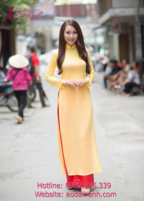 Áo dài vàng tươi chiffon trơn cổ truyền thống tay dài