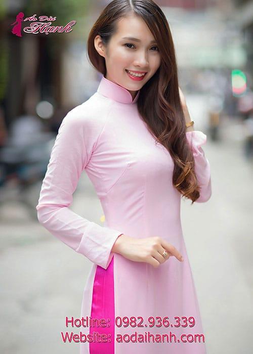 Áo dài hồng phấn chiffon trơn cổ truyền thống tay dài