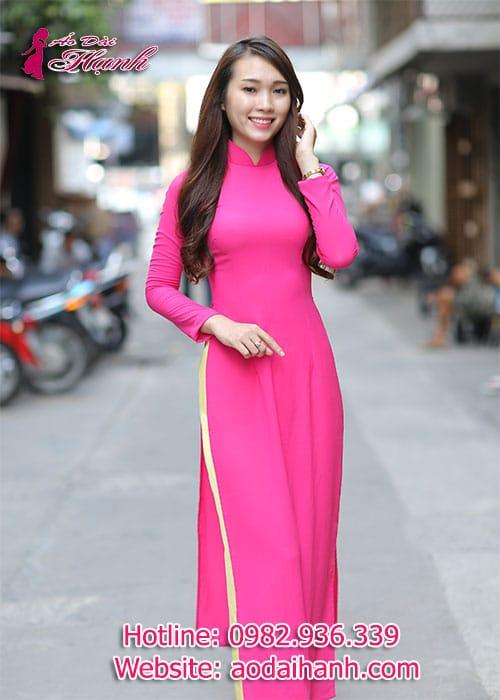 Áo dài hồng sen chiffon trơn cổ truyền thống tay dài lót ngực