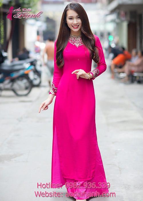Áo dài hồng sen chiffon đắp ren cổ tròn tay dài